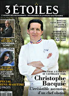 3 Etoiles Avril-Mai 2018 about Chef Christophe Bacquié winner 2017 Le Castellet