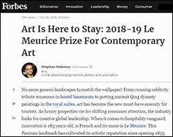Forbes, le Meurice, Stephan Rabimov, Katie Kelly Bell, Franka Holtmann, Maryvonne Pinault, Henri Loyrette, Best Artistic universe in a hotel 2018